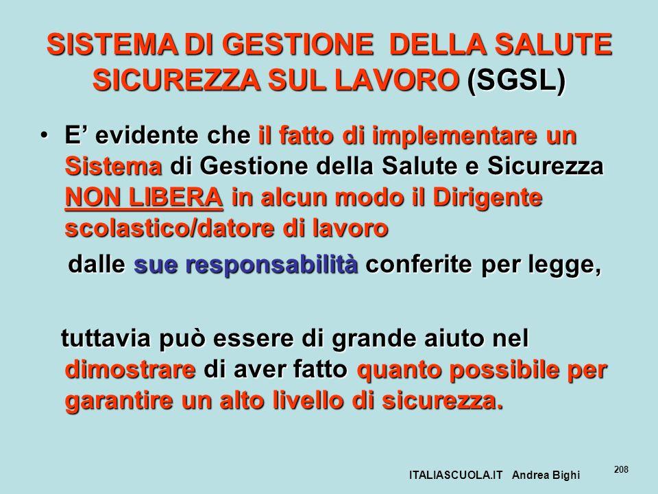 ITALIASCUOLA.IT Andrea Bighi 208 SISTEMA DI GESTIONE DELLA SALUTE SICUREZZA SUL LAVORO (SGSL) E evidente che il fatto di implementare un Sistema di Ge