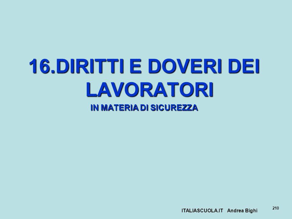 ITALIASCUOLA.IT Andrea Bighi 210 16.DIRITTI E DOVERI DEI LAVORATORI IN MATERIA DI SICUREZZA