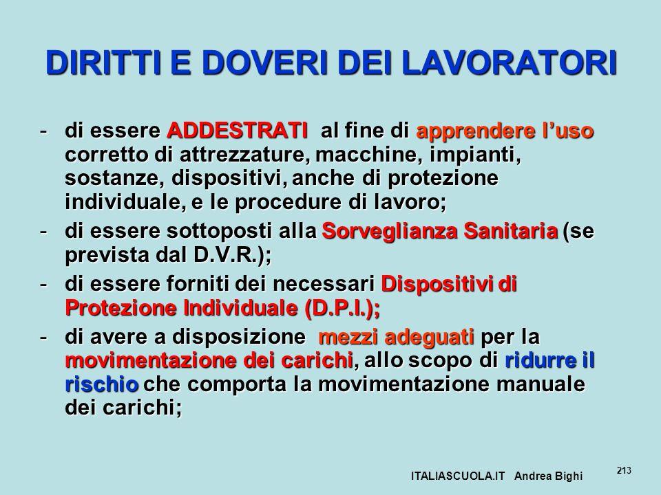 ITALIASCUOLA.IT Andrea Bighi 213 DIRITTI E DOVERI DEI LAVORATORI -di essere ADDESTRATI al fine di apprendere luso corretto di attrezzature, macchine,