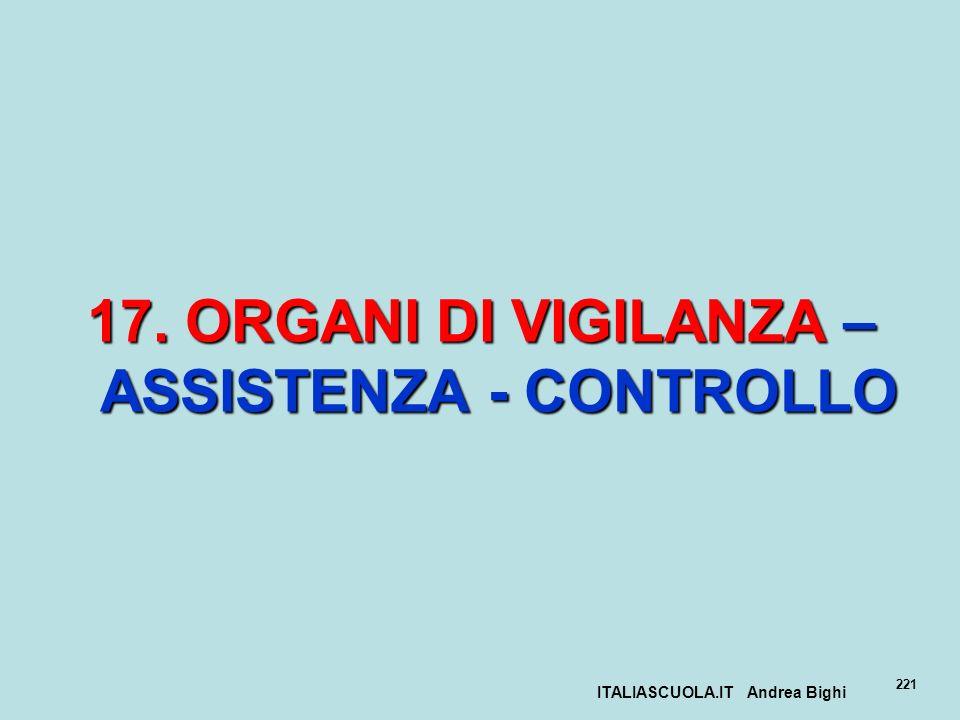 ITALIASCUOLA.IT Andrea Bighi 221 17. ORGANI DI VIGILANZA – ASSISTENZA - CONTROLLO