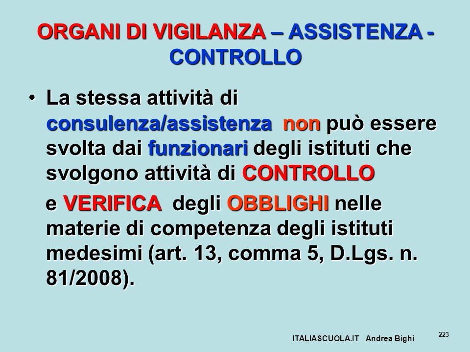 ITALIASCUOLA.IT Andrea Bighi 223 ORGANI DI VIGILANZA – ASSISTENZA - CONTROLLO La stessa attività di consulenza/assistenza non può essere svolta dai fu