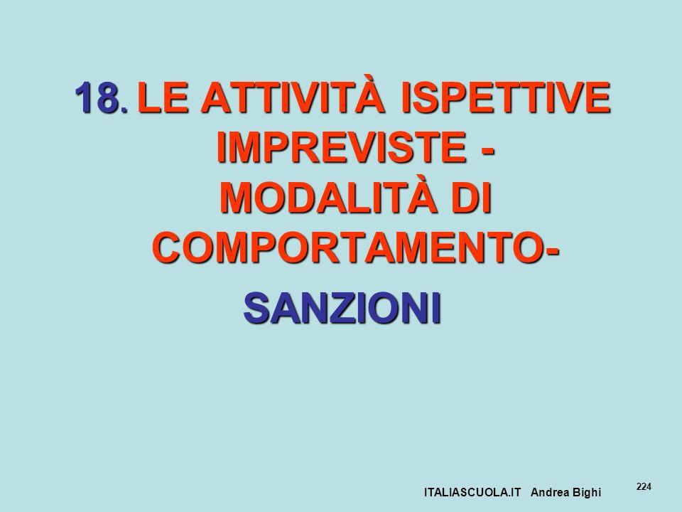 ITALIASCUOLA.IT Andrea Bighi 224 18. LE ATTIVITÀ ISPETTIVE IMPREVISTE - MODALITÀ DI COMPORTAMENTO- SANZIONI