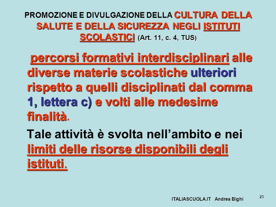 ITALIASCUOLA.IT Andrea Bighi 23 CULTURA DELLA SALUTE E DELLA SICUREZZA NEGLI ISTITUTI SCOLASTICI (Art. 11, c. 4, TUS ) PROMOZIONE E DIVULGAZIONE DELLA