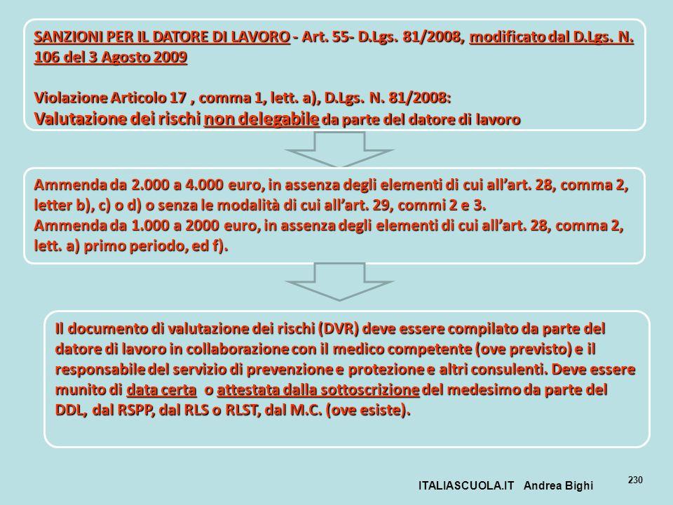 ITALIASCUOLA.IT Andrea Bighi 230 SANZIONI PER IL DATORE DI LAVORO - Art. 55- D.Lgs. 81/2008, modificato dal D.Lgs. N. 106 del 3 Agosto 2009 Violazione