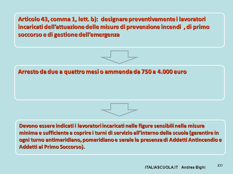 ITALIASCUOLA.IT Andrea Bighi 233 Articolo 43, comma 1, lett. b): designare preventivamente i lavoratori incaricati dellattuazione delle misure di prev