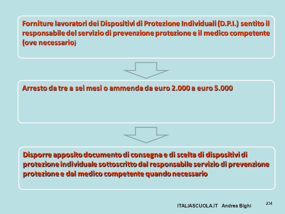 ITALIASCUOLA.IT Andrea Bighi 234 Forniture lavoratori dei Dispositivi di Protezione Individuali (D.P.I.) sentito il responsabile del servizio di preve