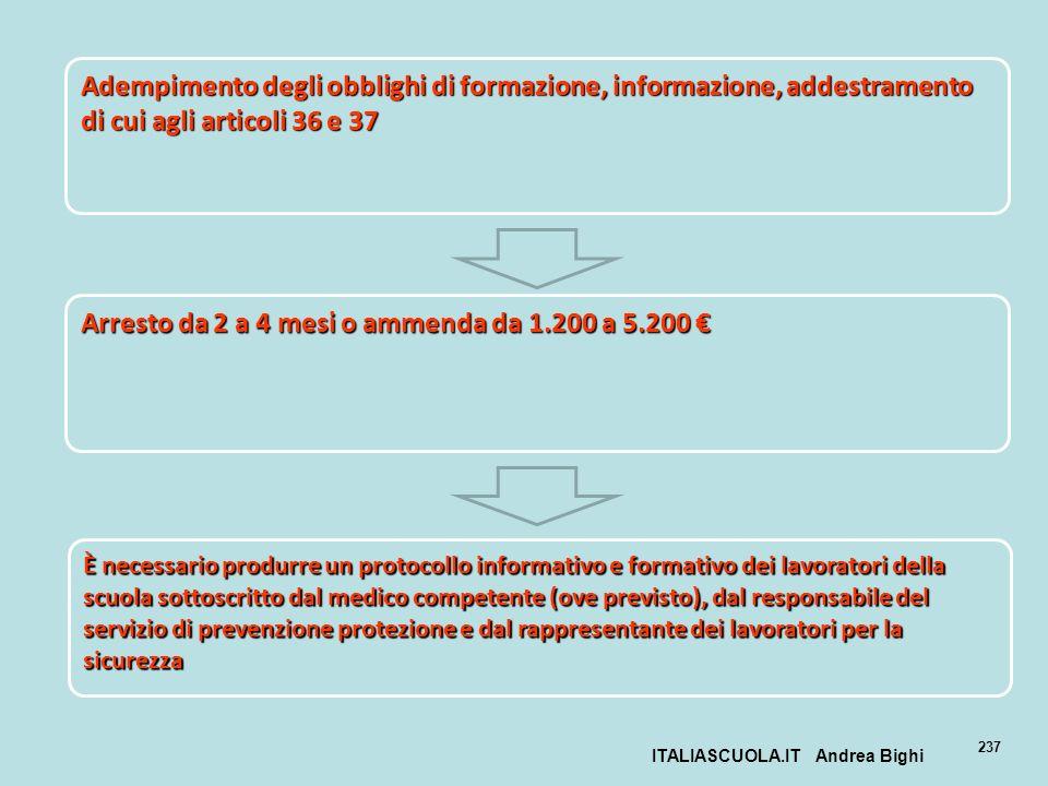 ITALIASCUOLA.IT Andrea Bighi 237 Adempimento degli obblighi di formazione, informazione, addestramento di cui agli articoli 36 e 37 Arresto da 2 a 4 m