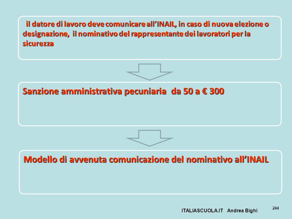 ITALIASCUOLA.IT Andrea Bighi 244 il datore di lavoro deve comunicare allINAIL, in caso di nuova elezione o designazione, il nominativo del rappresenta