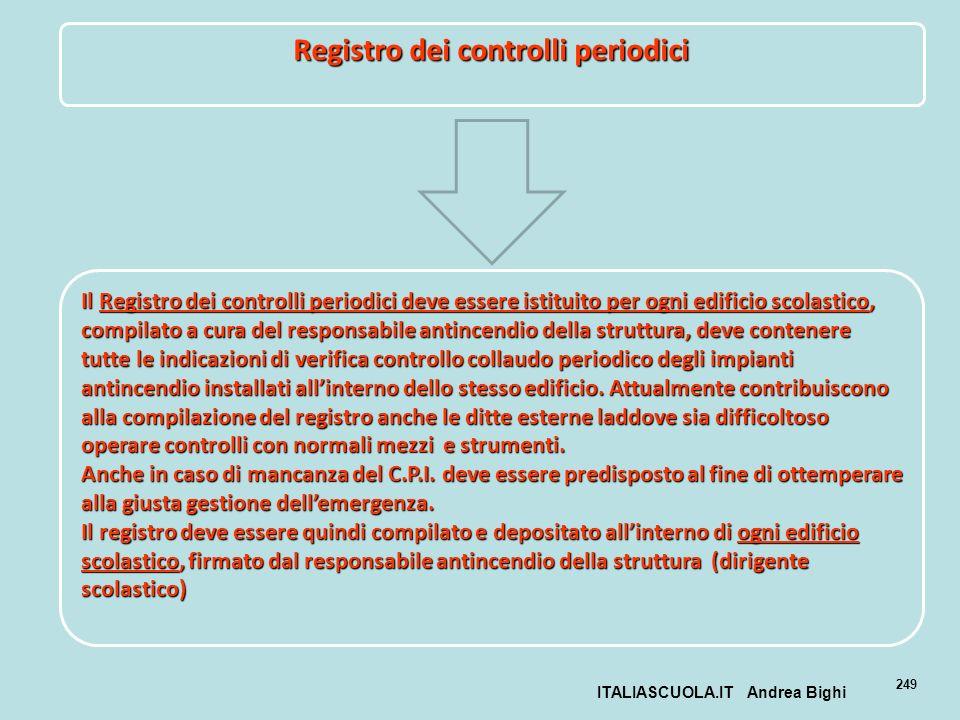ITALIASCUOLA.IT Andrea Bighi 249 Registro dei controlli periodici Il Registro dei controlli periodici deve essere istituito per ogni edificio scolasti
