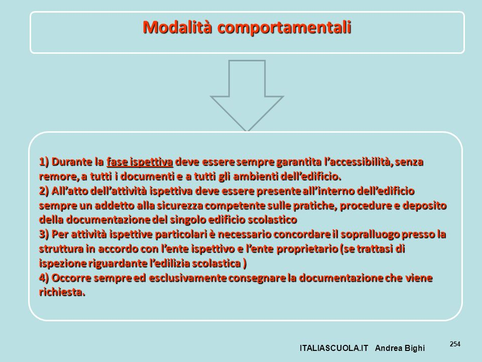 ITALIASCUOLA.IT Andrea Bighi 254 Modalità comportamentali 1) Durante la fase ispettiva deve essere sempre garantita laccessibilità, senza remore, a tu