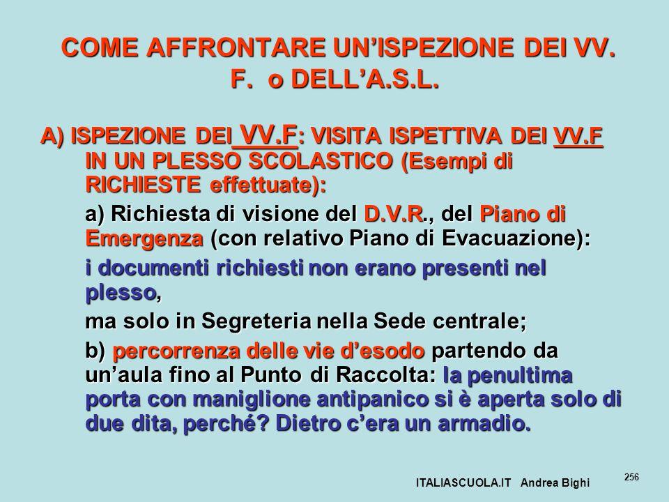 ITALIASCUOLA.IT Andrea Bighi 256 COME AFFRONTARE UNISPEZIONE DEI VV. F. o DELLA.S.L. COME AFFRONTARE UNISPEZIONE DEI VV. F. o DELLA.S.L. A) ISPEZIONE