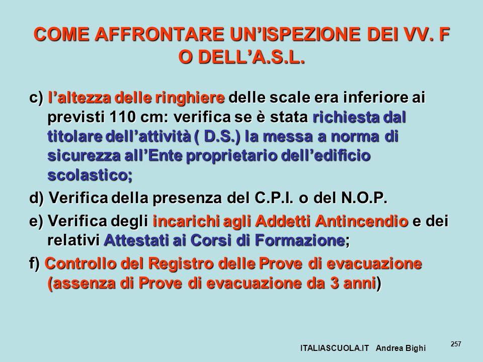 ITALIASCUOLA.IT Andrea Bighi 257 COME AFFRONTARE UNISPEZIONE DEI VV. F O DELLA.S.L. c) laltezza delle ringhiere delle scale era inferiore ai previsti