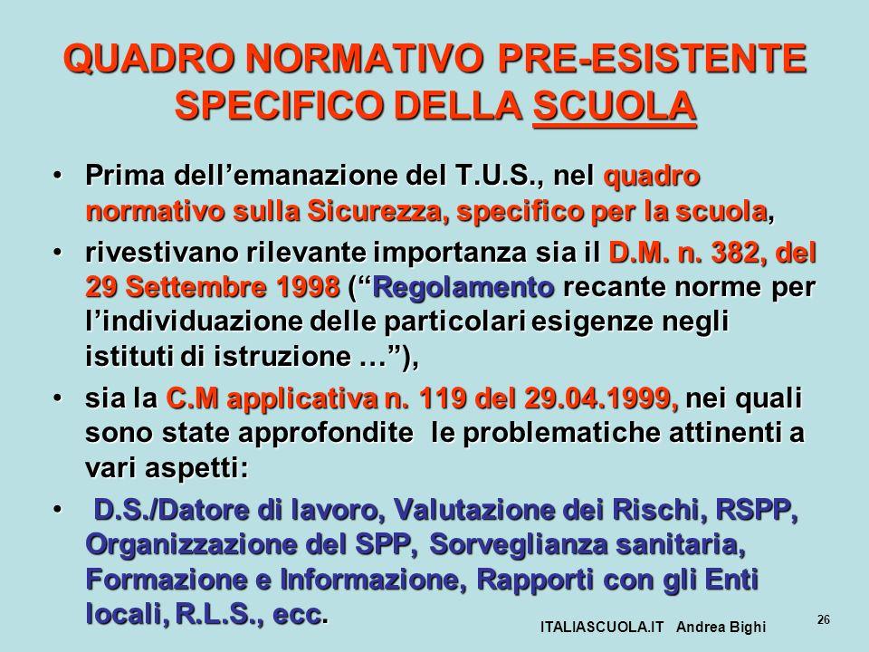 ITALIASCUOLA.IT Andrea Bighi 26 QUADRO NORMATIVO PRE-ESISTENTE SPECIFICO DELLA SCUOLA Prima dellemanazione del T.U.S., nel quadro normativo sulla Sicu