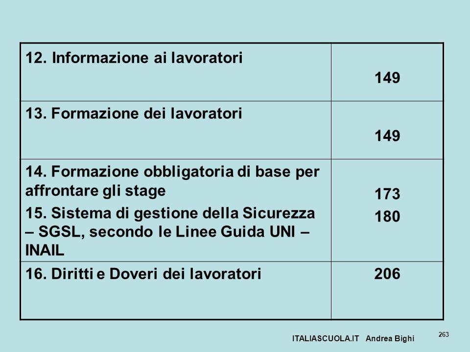 ITALIASCUOLA.IT Andrea Bighi 263 12. Informazione ai lavoratori 149 13. Formazione dei lavoratori 149 14. Formazione obbligatoria di base per affronta