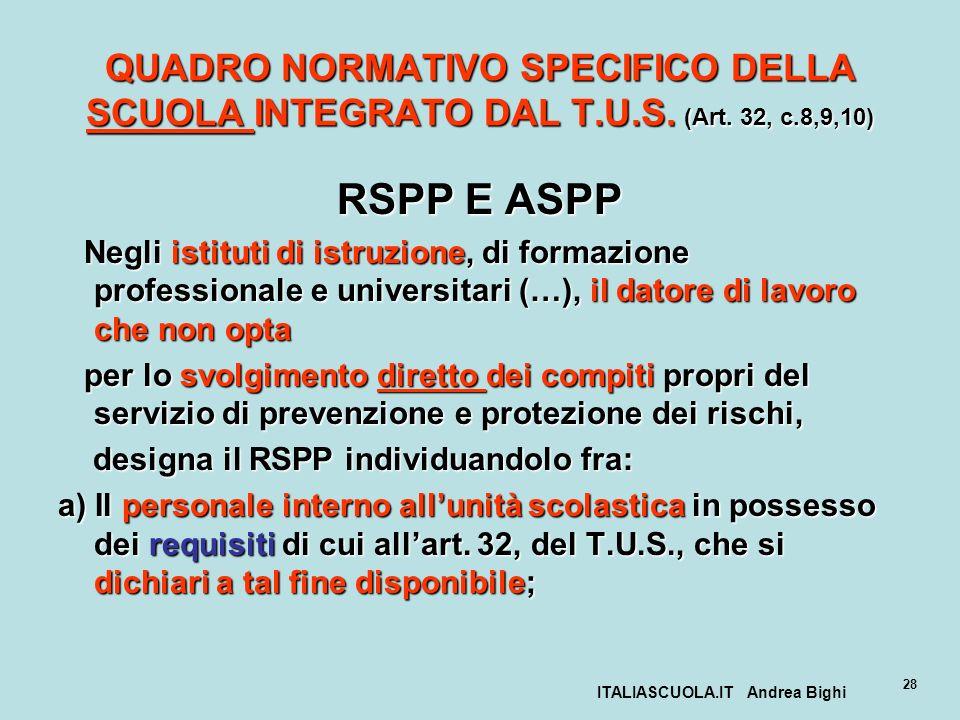 ITALIASCUOLA.IT Andrea Bighi 28 QUADRO NORMATIVO SPECIFICO DELLA SCUOLA INTEGRATO DAL T.U.S. (Art. 32, c.8,9,10) RSPP E ASPP Negli istituti di istruzi