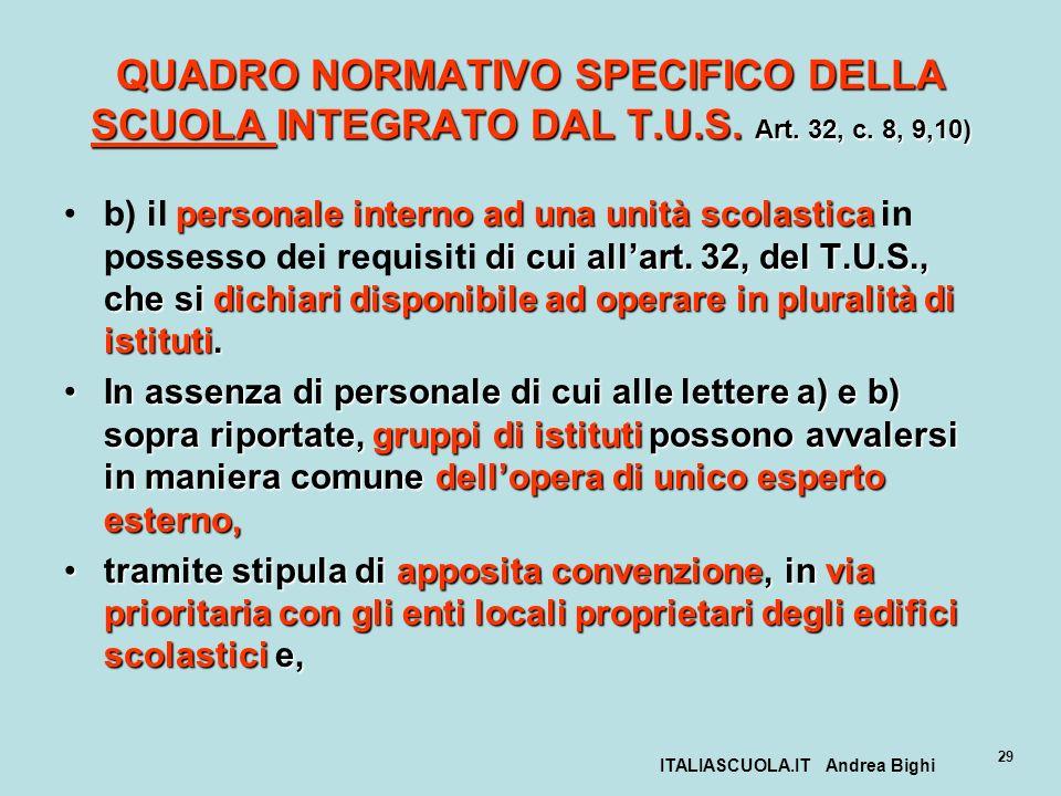 ITALIASCUOLA.IT Andrea Bighi 29 QUADRO NORMATIVO SPECIFICO DELLA SCUOLA INTEGRATO DAL T.U.S. Art. 32, c. 8, 9,10) personale interno ad una unità scola