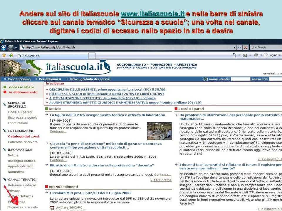 ITALIASCUOLA.IT Andrea Bighi 3 Andare sul sito di Italiascuola www.italiascuola.it e nella barra di sinistra cliccare sul canale tematico Sicurezza a