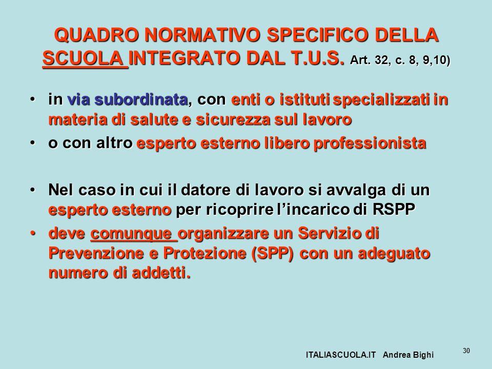 ITALIASCUOLA.IT Andrea Bighi 30 QUADRO NORMATIVO SPECIFICO DELLA SCUOLA INTEGRATO DAL T.U.S. Art. 32, c. 8, 9,10) in via subordinata, con enti o istit