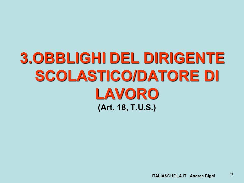 ITALIASCUOLA.IT Andrea Bighi 31 3.OBBLIGHI DEL DIRIGENTE SCOLASTICO/DATORE DI LAVORO 3.OBBLIGHI DEL DIRIGENTE SCOLASTICO/DATORE DI LAVORO (Art. 18, T.