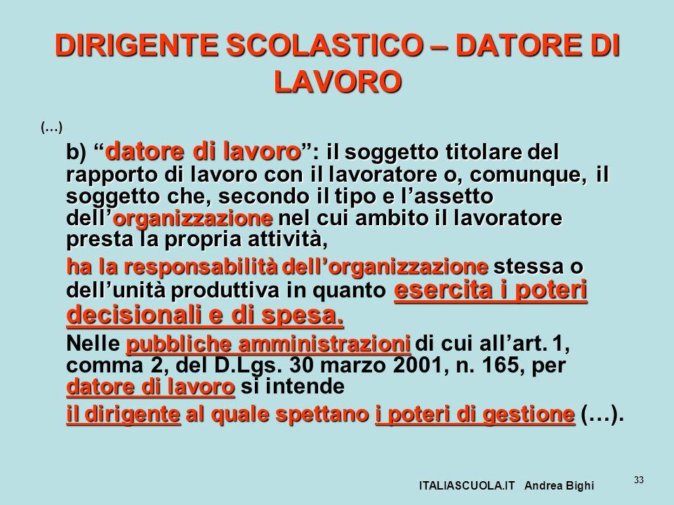 ITALIASCUOLA.IT Andrea Bighi 33 DIRIGENTE SCOLASTICO – DATORE DI LAVORO (…) datore di lavoro il soggetto titolare del rapporto di lavoro con il lavora