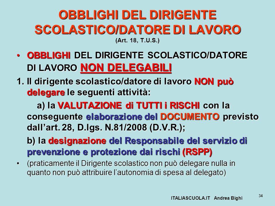 ITALIASCUOLA.IT Andrea Bighi 34 OBBLIGHI DEL DIRIGENTE SCOLASTICO/DATORE DI LAVORO OBBLIGHI DEL DIRIGENTE SCOLASTICO/DATORE DI LAVORO (Art. 18, T.U.S.