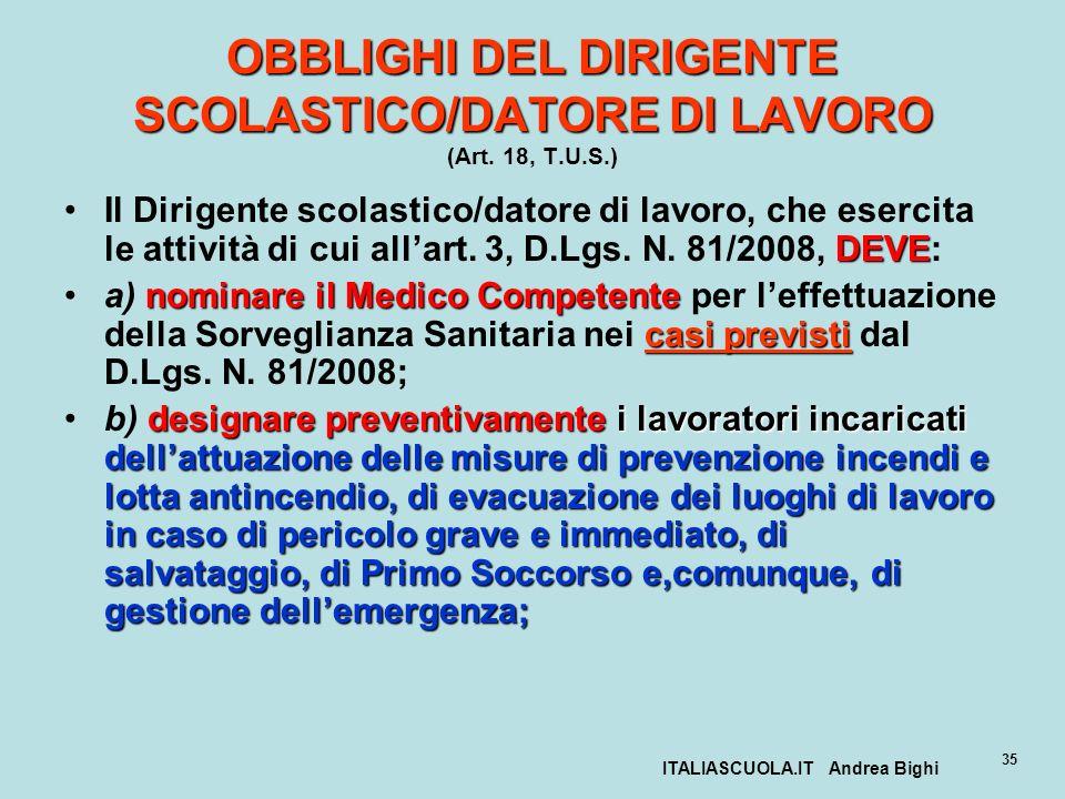 ITALIASCUOLA.IT Andrea Bighi 35 OBBLIGHI DEL DIRIGENTE SCOLASTICO/DATORE DI LAVORO OBBLIGHI DEL DIRIGENTE SCOLASTICO/DATORE DI LAVORO (Art. 18, T.U.S.