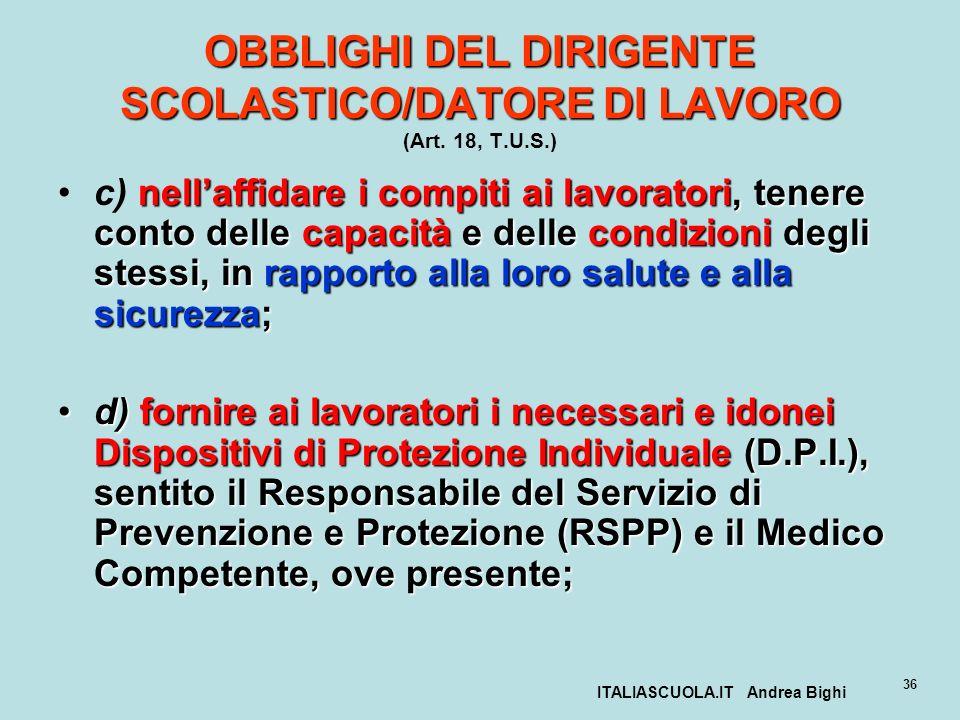 ITALIASCUOLA.IT Andrea Bighi 36 OBBLIGHI DEL DIRIGENTE SCOLASTICO/DATORE DI LAVORO OBBLIGHI DEL DIRIGENTE SCOLASTICO/DATORE DI LAVORO (Art. 18, T.U.S.