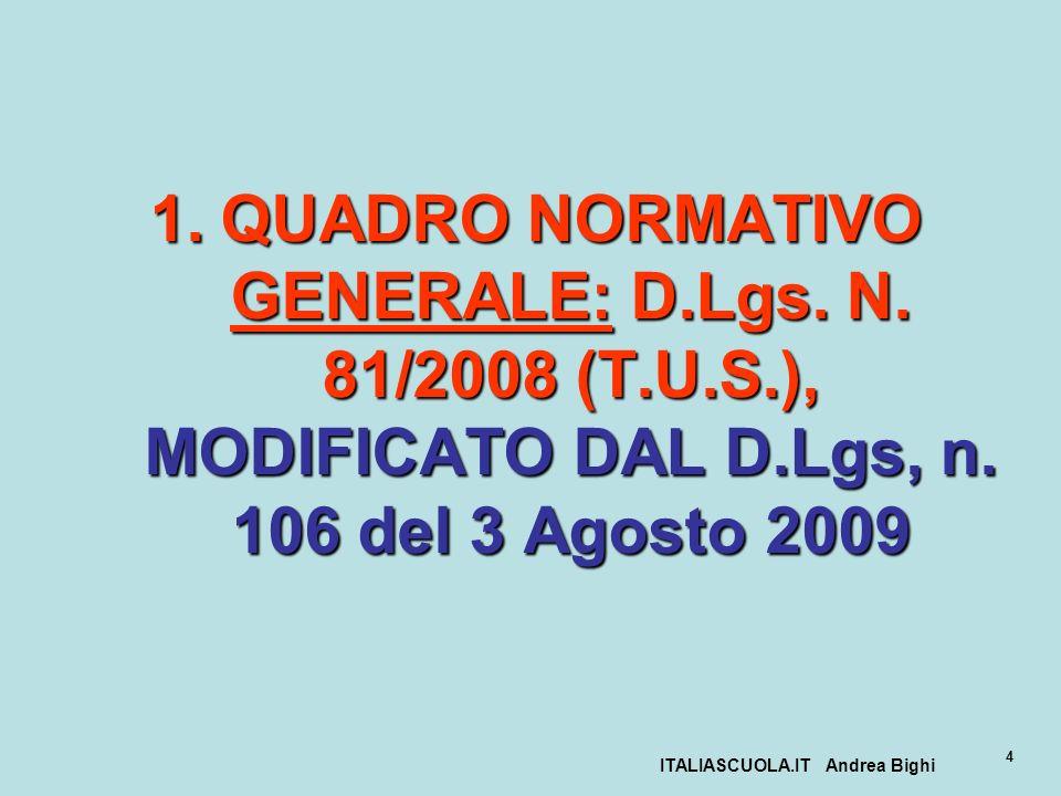 ITALIASCUOLA.IT Andrea Bighi 4 1.QUADRO NORMATIVO GENERALE: D.Lgs. N. 81/2008 (T.U.S.), MODIFICATO DAL D.Lgs, n. 106 del 3 Agosto 2009