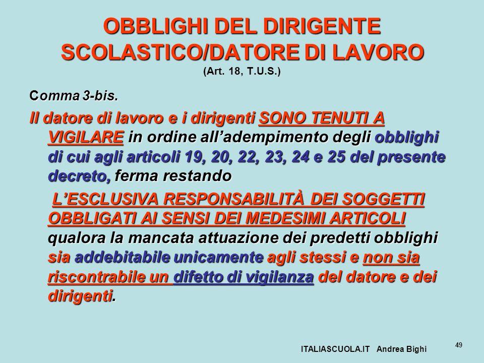 ITALIASCUOLA.IT Andrea Bighi 49 OBBLIGHI DEL DIRIGENTE SCOLASTICO/DATORE DI LAVORO OBBLIGHI DEL DIRIGENTE SCOLASTICO/DATORE DI LAVORO (Art. 18, T.U.S.