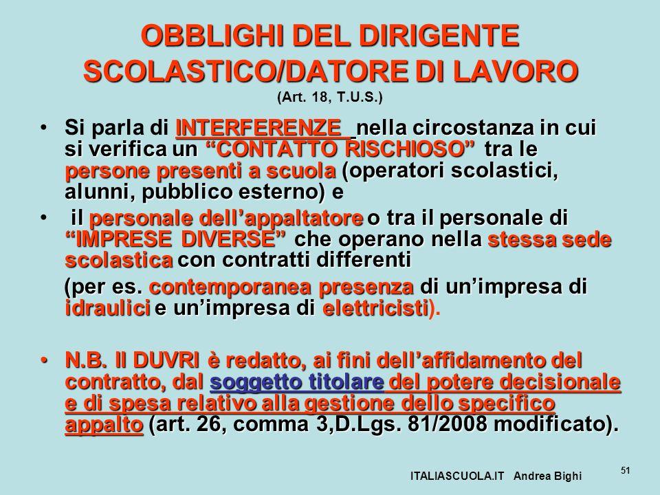 ITALIASCUOLA.IT Andrea Bighi 51 OBBLIGHI DEL DIRIGENTE SCOLASTICO/DATORE DI LAVORO OBBLIGHI DEL DIRIGENTE SCOLASTICO/DATORE DI LAVORO (Art. 18, T.U.S.