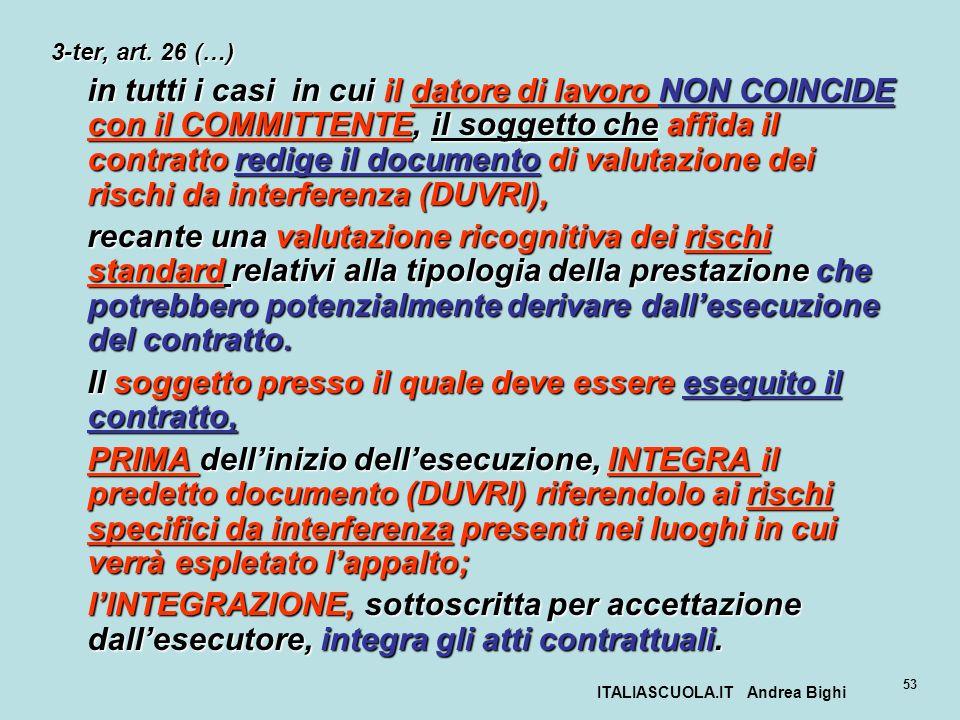 ITALIASCUOLA.IT Andrea Bighi 53 3-ter, art. 26 (…) in tutti i casi in cui il datore di lavoro NON COINCIDE con il COMMITTENTE, il soggetto che affida