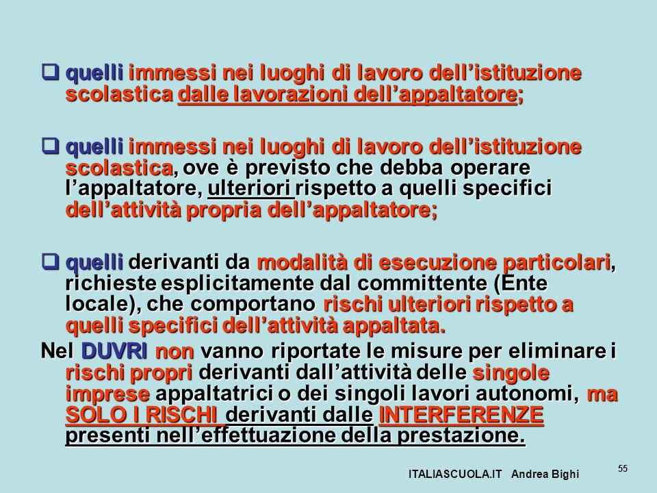 ITALIASCUOLA.IT Andrea Bighi 55 quelli immessi nei luoghi di lavoro dellistituzione scolastica dalle lavorazioni dellappaltatore; quelli immessi nei l