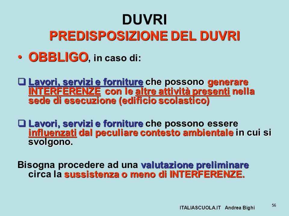 ITALIASCUOLA.IT Andrea Bighi 56 PREDISPOSIZIONE DEL DUVRI DUVRI PREDISPOSIZIONE DEL DUVRI OBBLIGOOBBLIGO, in caso di: Lavori, servizi e forniture che