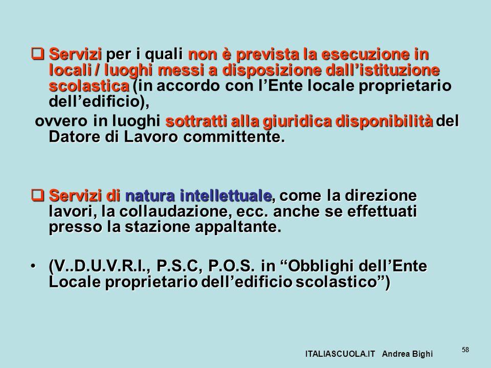 ITALIASCUOLA.IT Andrea Bighi 58 Servizi per i quali non è prevista la esecuzione in locali / luoghi messi a disposizione dallistituzione scolastica Se