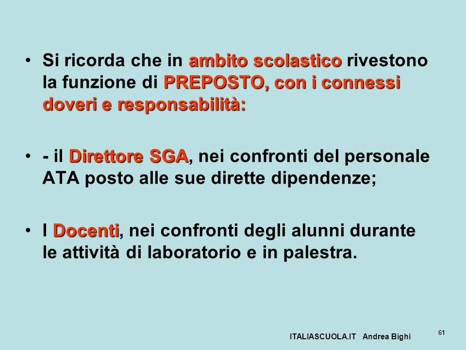 ITALIASCUOLA.IT Andrea Bighi 61 ambito scolastico PREPOSTO, con i connessi doveri e responsabilità:Si ricorda che in ambito scolastico rivestono la fu