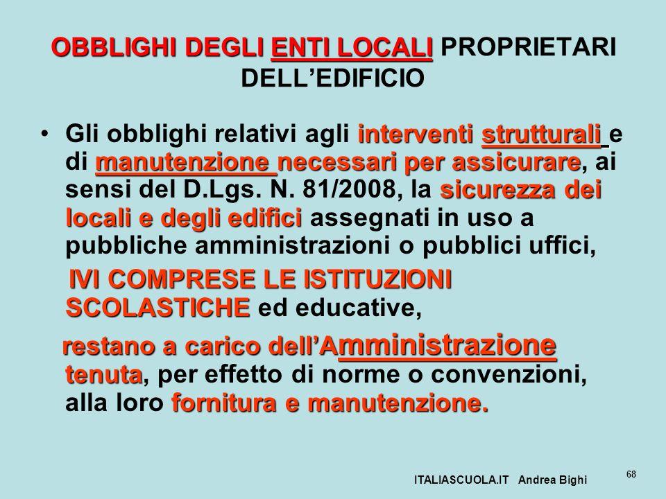 ITALIASCUOLA.IT Andrea Bighi 68 OBBLIGHI DEGLI ENTI LOCALI OBBLIGHI DEGLI ENTI LOCALI PROPRIETARI DELLEDIFICIO interventi strutturali manutenzione nec
