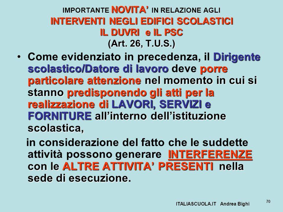 ITALIASCUOLA.IT Andrea Bighi 70 NOVITA INTERVENTI NEGLI EDIFICI SCOLASTICI IL DUVRI e IL PSC (Art. 26, T.U.S.) IMPORTANTE NOVITA IN RELAZIONE AGLI INT