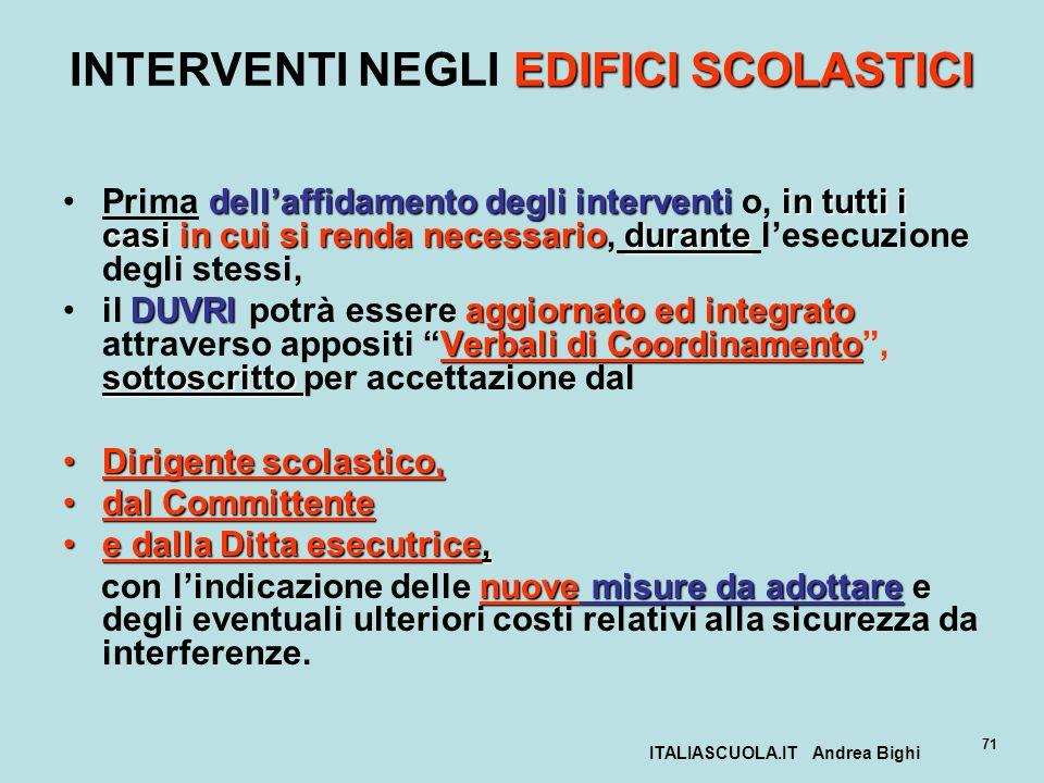 ITALIASCUOLA.IT Andrea Bighi 71 EDIFICI SCOLASTICI INTERVENTI NEGLI EDIFICI SCOLASTICI dellaffidamento degli interventiin tutti i casi in cui si renda