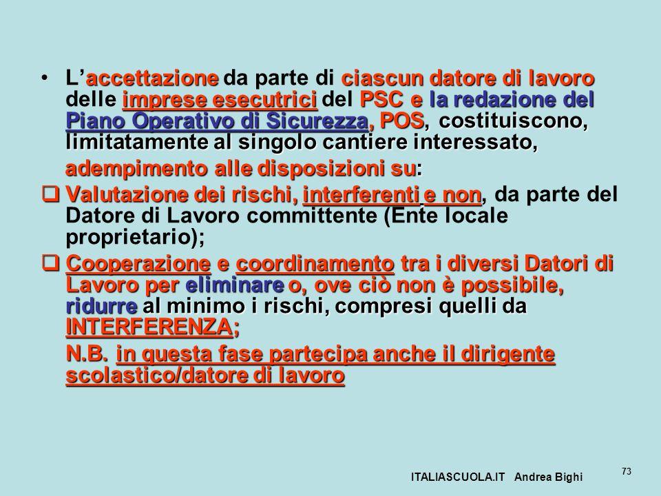 ITALIASCUOLA.IT Andrea Bighi 73 accettazione ciascun datore di lavoro imprese esecutriciPSC e la redazione del Piano Operativo di Sicurezza, POS, cost