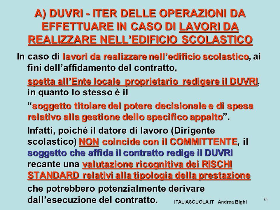 ITALIASCUOLA.IT Andrea Bighi 75 A) DUVRI - ITER DELLE OPERAZIONI DA EFFETTUARE IN CASO DI LAVORI DA REALIZZARE NELLEDIFICIO SCOLASTICO In caso di lavo