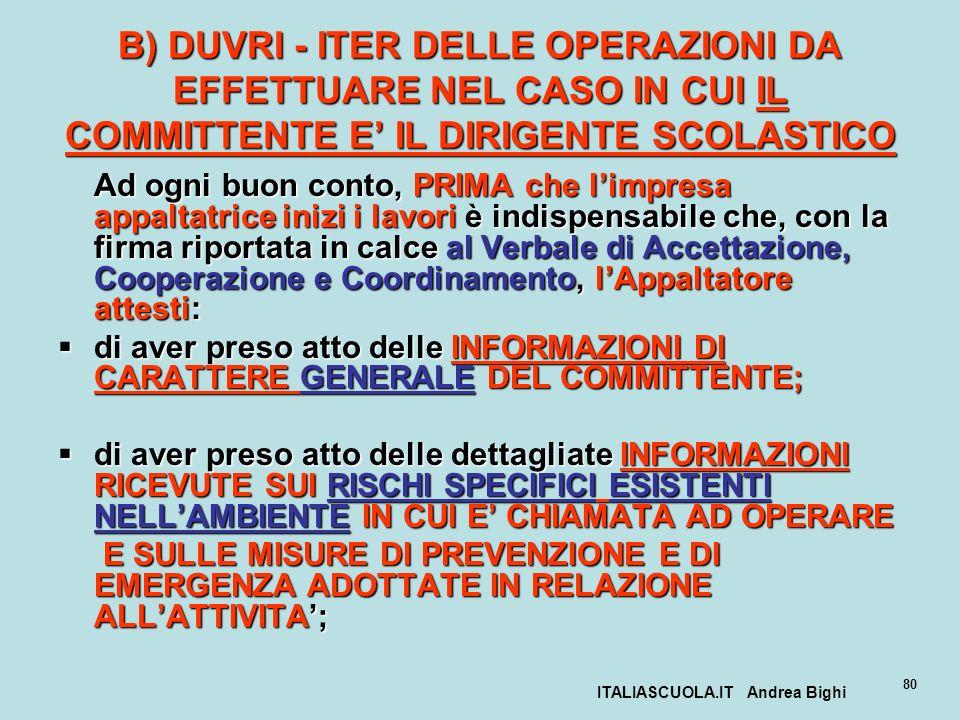 ITALIASCUOLA.IT Andrea Bighi 80 B) DUVRI - ITER DELLE OPERAZIONI DA EFFETTUARE NEL CASO IN CUI IL COMMITTENTE E IL DIRIGENTE SCOLASTICO Ad ogni buon c