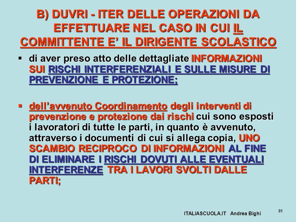 ITALIASCUOLA.IT Andrea Bighi 81 B) DUVRI - ITER DELLE OPERAZIONI DA EFFETTUARE NEL CASO IN CUI IL COMMITTENTE E IL DIRIGENTE SCOLASTICO di aver preso