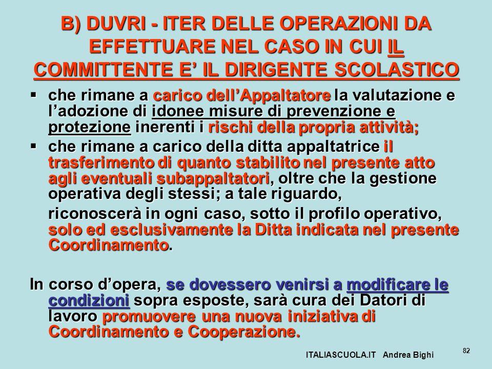 ITALIASCUOLA.IT Andrea Bighi 82 B) DUVRI - ITER DELLE OPERAZIONI DA EFFETTUARE NEL CASO IN CUI IL COMMITTENTE E IL DIRIGENTE SCOLASTICO che rimane a c