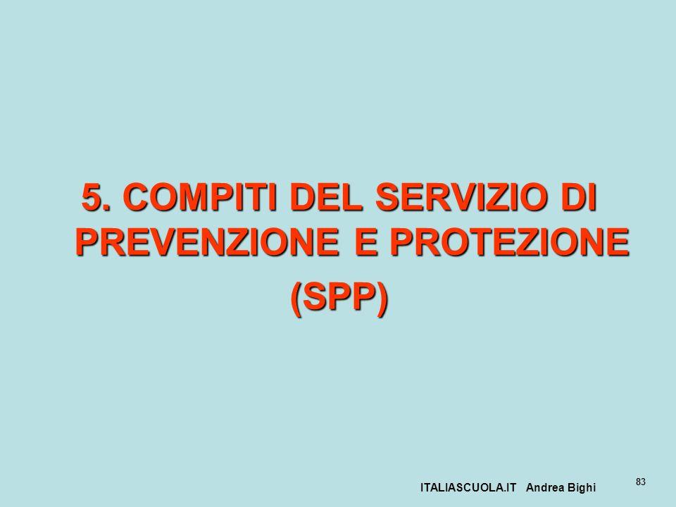 ITALIASCUOLA.IT Andrea Bighi 83 5. COMPITI DEL SERVIZIO DI PREVENZIONE E PROTEZIONE (SPP)