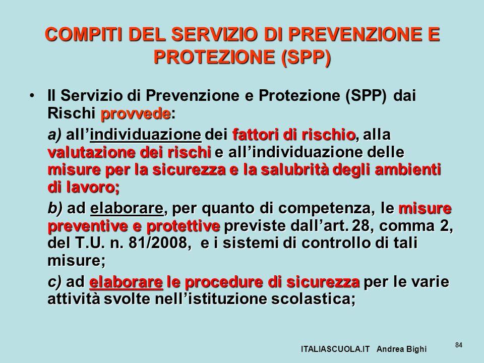 ITALIASCUOLA.IT Andrea Bighi 84 COMPITI DEL SERVIZIO DI PREVENZIONE E PROTEZIONE (SPP) provvedeIl Servizio di Prevenzione e Protezione (SPP) dai Risch