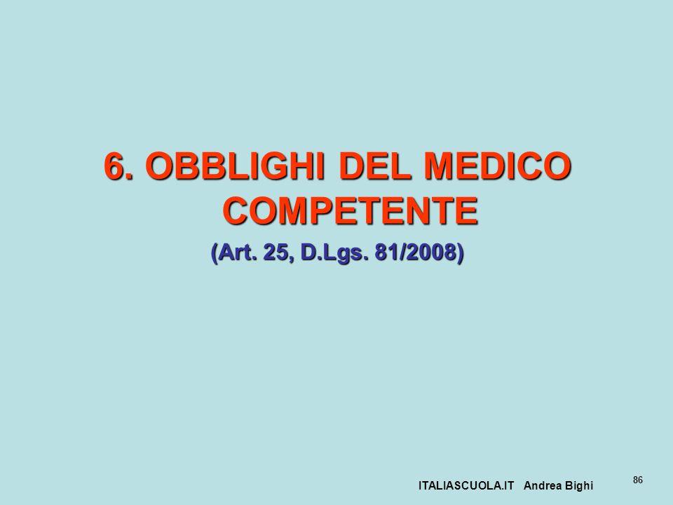 ITALIASCUOLA.IT Andrea Bighi 86 6. OBBLIGHI DEL MEDICO COMPETENTE (Art. 25, D.Lgs. 81/2008)