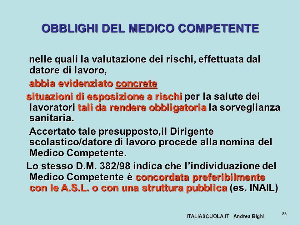 ITALIASCUOLA.IT Andrea Bighi 88 OBBLIGHI DEL MEDICO COMPETENTE nelle quali la valutazione dei rischi, effettuata dal datore di lavoro, nelle quali la