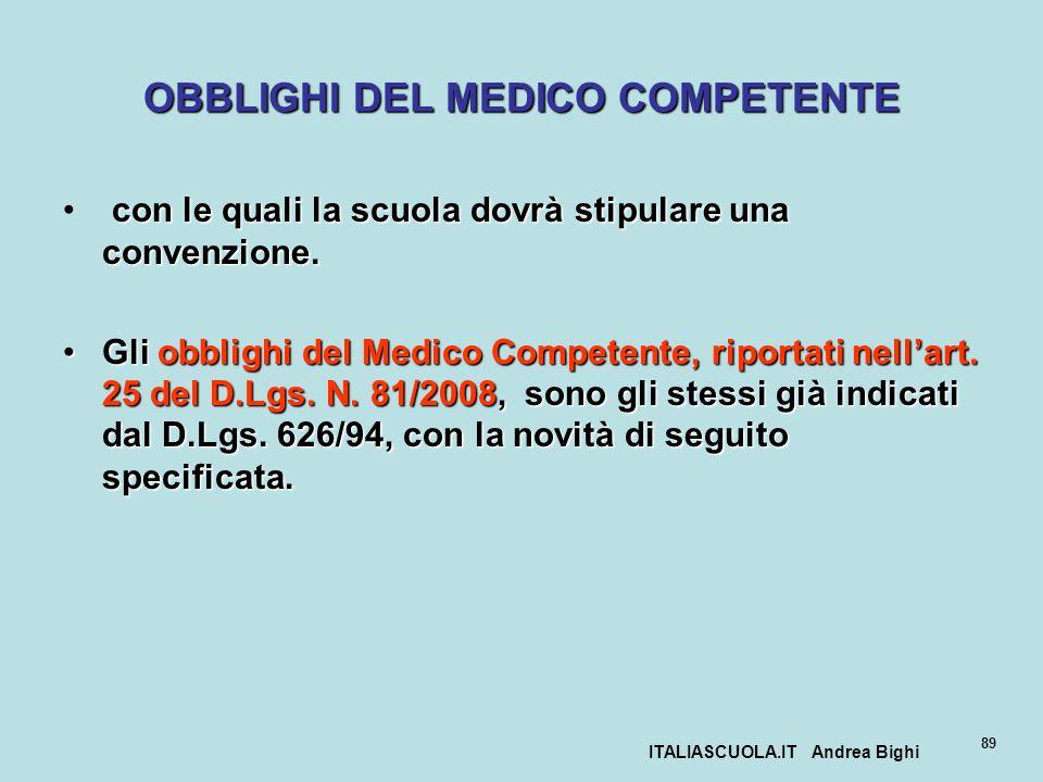 ITALIASCUOLA.IT Andrea Bighi 89 OBBLIGHI DEL MEDICO COMPETENTE con le quali la scuola dovrà stipulare una convenzione. Gli obblighi del Medico Compete