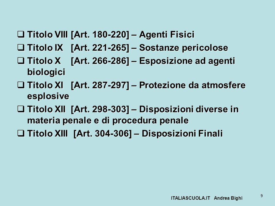ITALIASCUOLA.IT Andrea Bighi 9 Titolo VIII [Art. 180-220] – Agenti Fisici Titolo VIII [Art. 180-220] – Agenti Fisici Titolo IX [Art. 221-265] – Sostan