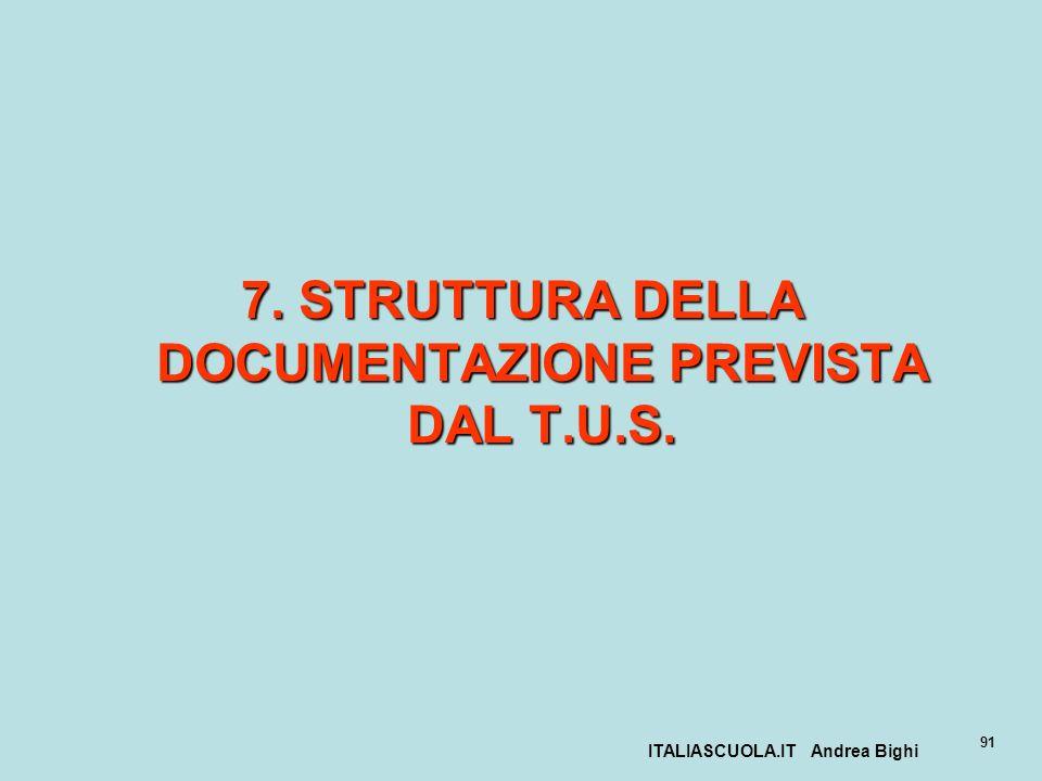 ITALIASCUOLA.IT Andrea Bighi 91 7. STRUTTURA DELLA DOCUMENTAZIONE PREVISTA DAL T.U.S.